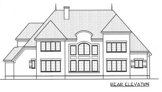 European Rear Elevation of Plan 53745