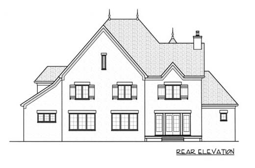European House Plan 53746 with 5 Beds , 4 Baths , 3 Car Garage Rear Elevation
