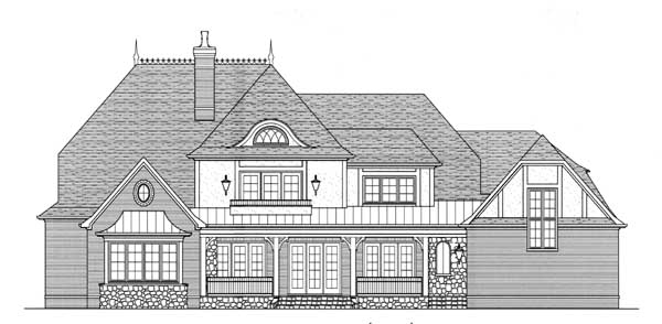European, Tudor House Plan 53747 with 4 Beds, 5 Baths, 3 Car Garage Rear Elevation