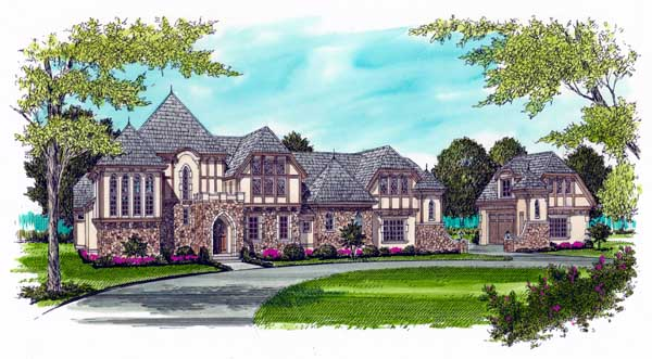 European Tudor House Plan 53748 Elevation