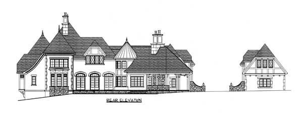 European Tudor House Plan 53748 Rear Elevation
