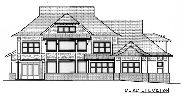 Craftsman European Rear Elevation of Plan 53749