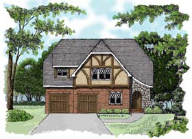 House Plan 53764 | European Tudor Style Plan with 2241 Sq Ft, 3 Bedrooms, 3 Bathrooms, 2 Car Garage Elevation