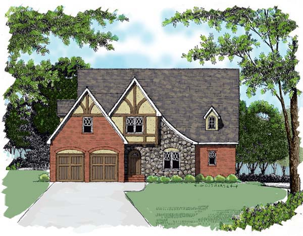 Country European Tudor House Plan 53765 Elevation