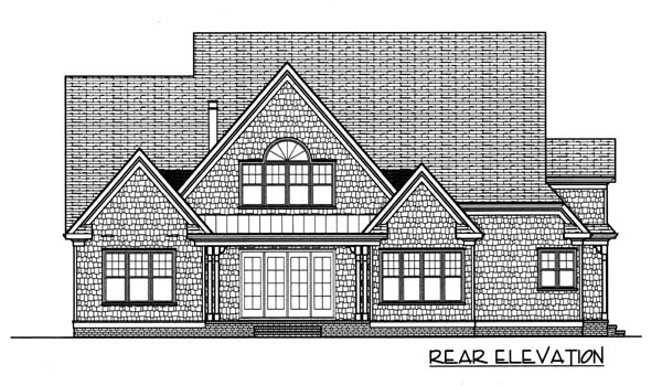 House Plan 53766 | Style Plan with 3682 Sq Ft, 4 Bedrooms, 5 Bathrooms, 3 Car Garage Rear Elevation