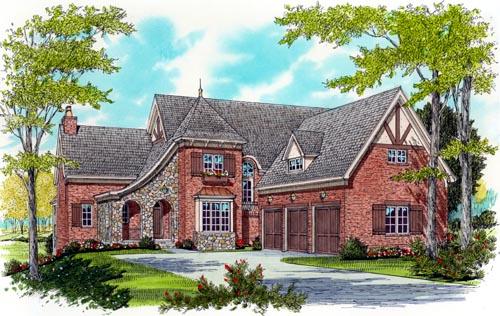 European House Plan 53767 with 4 Beds, 4 Baths, 3 Car Garage Elevation