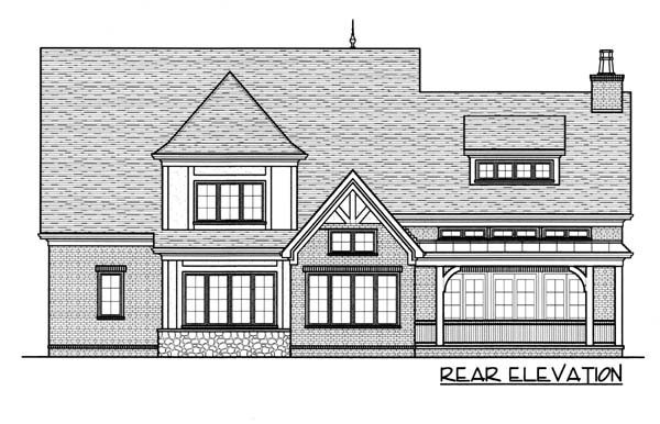 European House Plan 53767 with 4 Beds, 4 Baths, 3 Car Garage Rear Elevation