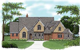 European House Plan 53768 Elevation