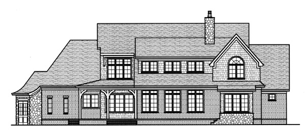 European House Plan 53768 Rear Elevation