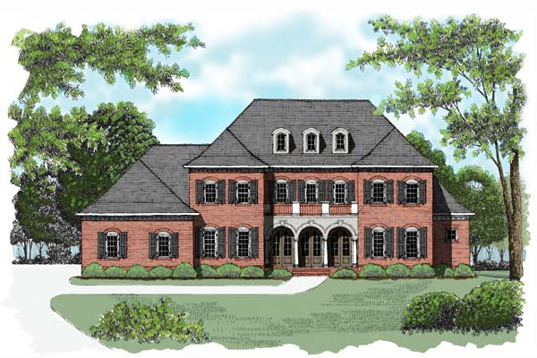 House Plan 53770 | Colonial Style Plan with 4048 Sq Ft, 4 Bedrooms, 4 Bathrooms, 3 Car Garage Elevation