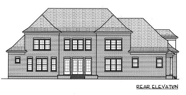 House Plan 53770 | Colonial Style Plan with 4048 Sq Ft, 4 Bedrooms, 4 Bathrooms, 3 Car Garage Rear Elevation