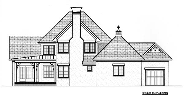 Craftsman , Tudor , Tuscan House Plan 53773 with 4 Beds, 4 Baths, 3 Car Garage Rear Elevation