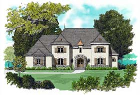 House Plan 53774 | European Style Plan with 4450 Sq Ft, 4 Bedrooms, 4 Bathrooms, 3 Car Garage Elevation