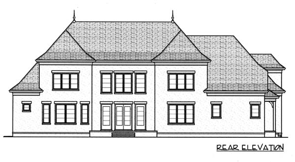 European House Plan 53774 Rear Elevation