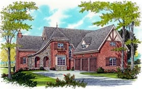European House Plan 53775 with 4 Beds, 4 Baths, 3 Car Garage Elevation