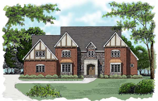 European , Tudor House Plan 53777 with 4 Beds, 4 Baths, 3 Car Garage Elevation