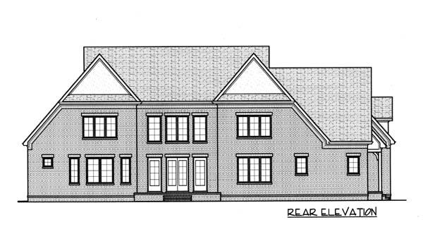 European , Tudor House Plan 53777 with 4 Beds, 4 Baths, 3 Car Garage Rear Elevation