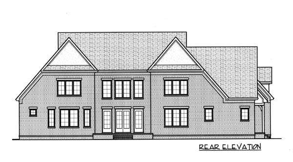 European Tudor House Plan 53777 Rear Elevation