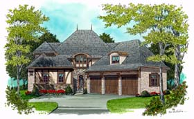 European , Tudor House Plan 53778 with 4 Beds, 4 Baths, 3 Car Garage Elevation
