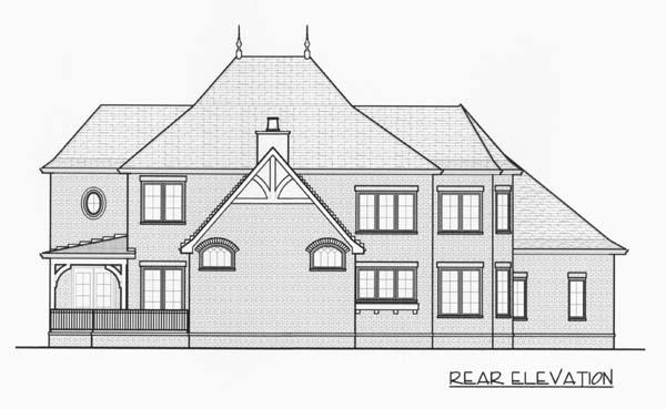 European Tudor House Plan 53778 Rear Elevation