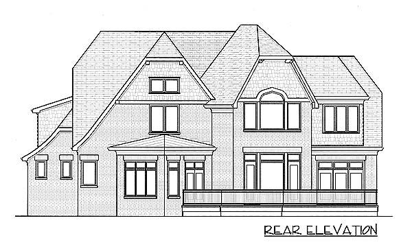 Country European Tudor House Plan 53779 Rear Elevation