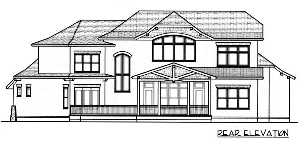 European , Craftsman House Plan 53782 with 4 Beds, 4 Baths, 3 Car Garage Rear Elevation