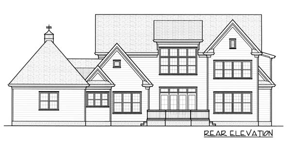 Colonial European House Plan 53784 Rear Elevation