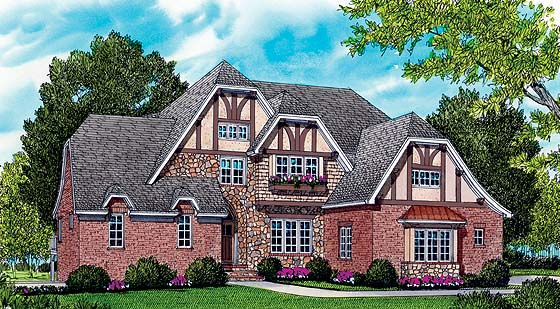 Country European Tudor House Plan 53785 Elevation