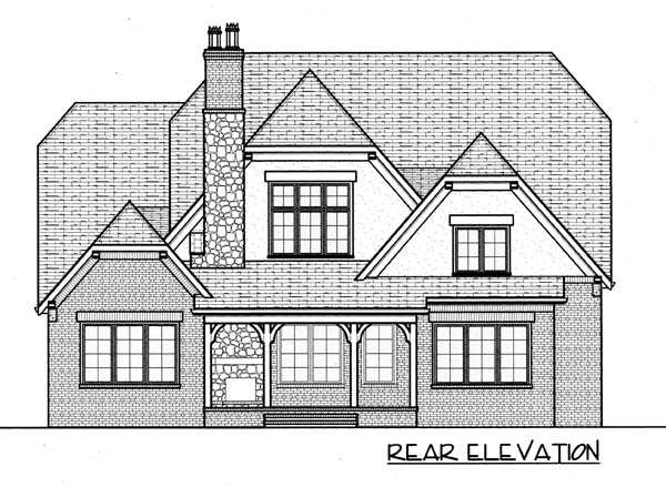 French Country Tudor House Plan 53786 Rear Elevation