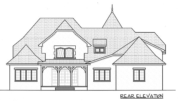European French Country Tudor House Plan 53788 Rear Elevation