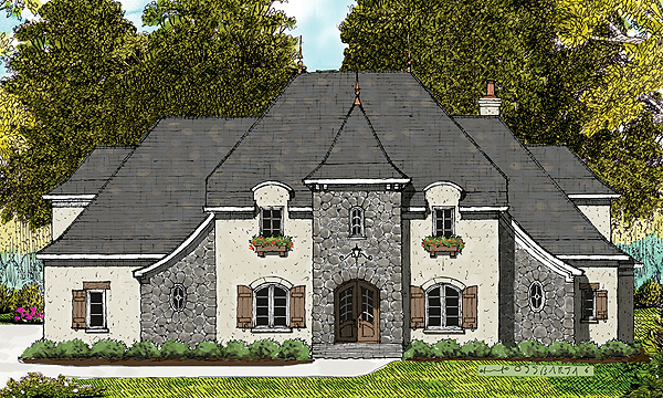 Country , European House Plan 53789 with 4 Beds, 4 Baths, 3 Car Garage Elevation