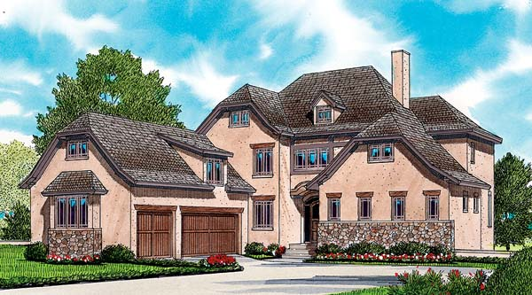 House Plan 53793 | Craftsman European Style Plan with 3641 Sq Ft, 4 Bedrooms, 5 Bathrooms, 3 Car Garage Elevation