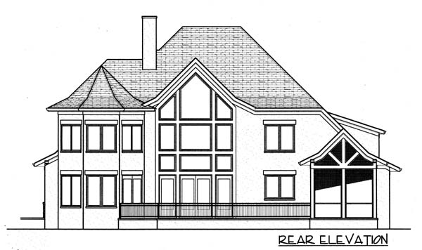 House Plan 53793 | Craftsman European Style Plan with 3641 Sq Ft, 4 Bedrooms, 5 Bathrooms, 3 Car Garage Rear Elevation
