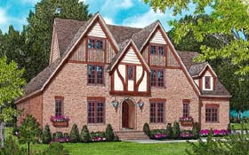 House Plan 53794   European Tudor Style Plan with 3747 Sq Ft, 4 Bedrooms, 4 Bathrooms, 3 Car Garage Elevation