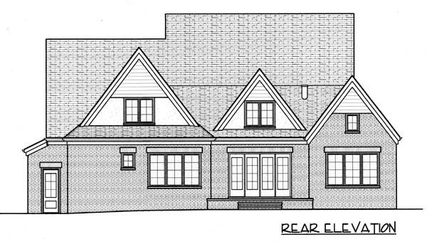 House Plan 53794   European Tudor Style Plan with 3747 Sq Ft, 4 Bedrooms, 4 Bathrooms, 3 Car Garage Rear Elevation