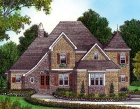 House Plan 53797   Style Plan with 3011 Sq Ft, 4 Bedrooms, 4 Bathrooms, 3 Car Garage Elevation
