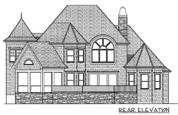 House Plan 53797 with 4 Beds, 4 Baths, 3 Car Garage Rear Elevation