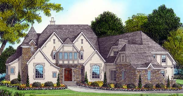 Country Tudor House Plan 53803 Elevation