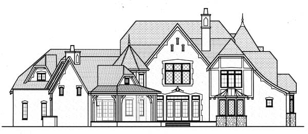 Country Tudor House Plan 53803 Rear Elevation