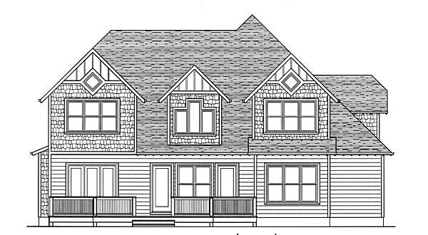 Craftsman Rear Elevation of Plan 53805