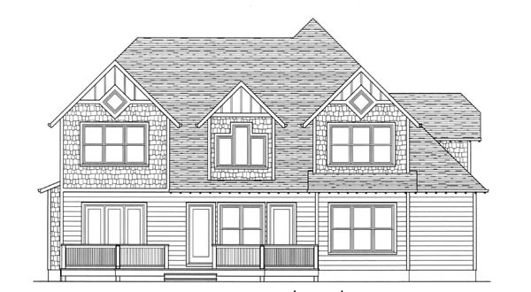 Craftsman Rear Elevation of Plan 53812