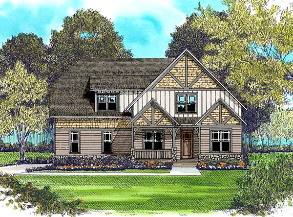 Craftsman House Plan 53814 with 4 Beds, 3 Baths, 3 Car Garage Elevation