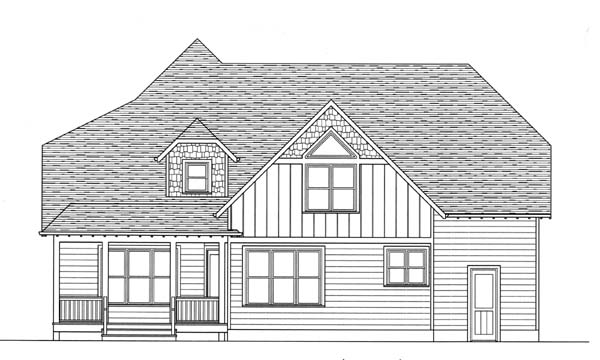 Craftsman House Plan 53815 with 4 Beds, 3 Baths, 3 Car Garage Rear Elevation