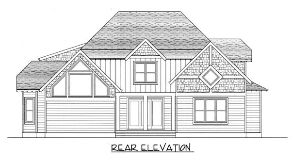 Craftsman , Rear Elevation of Plan 53816