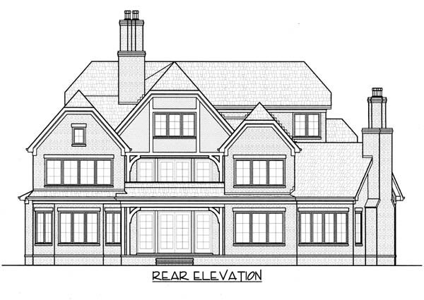 European Tudor House Plan 53820 Rear Elevation
