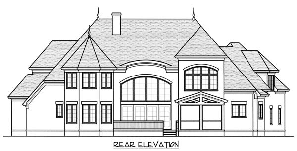European , Country House Plan 53821 with 4 Beds, 5 Baths, 3 Car Garage Rear Elevation