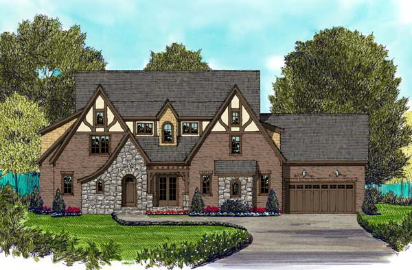 European Tudor House Plan 53822 Elevation