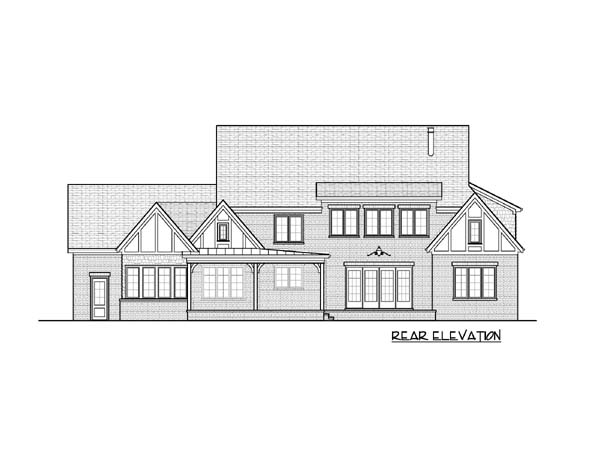 European Tudor House Plan 53822 Rear Elevation
