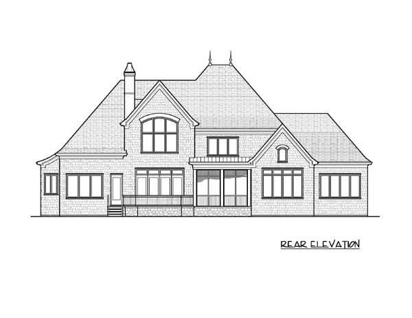 European House Plan 53824 with 4 Beds, 5 Baths, 3 Car Garage Rear Elevation