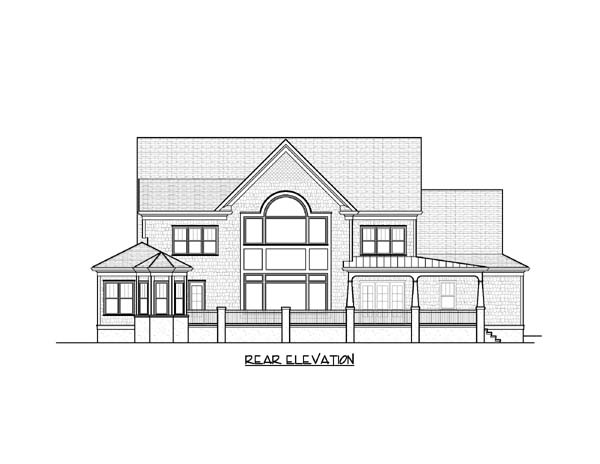European Tudor House Plan 53825 Rear Elevation